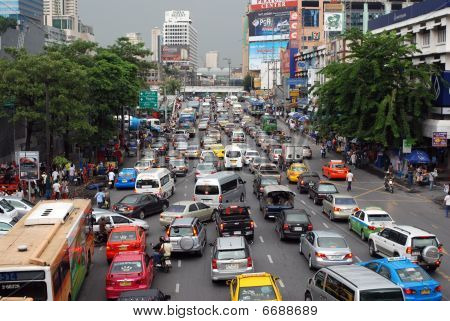 Daily Traffic Jam In The Afternoon On October 9, 2009 In Bangkok Thailand