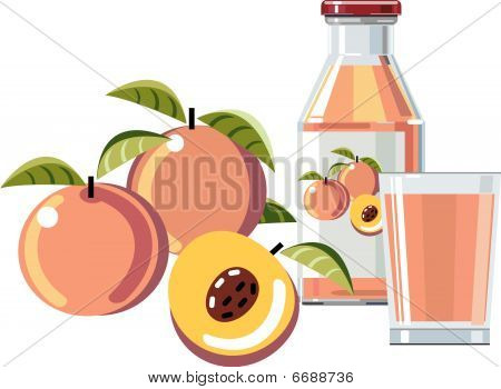 Peach juice with bottle and glass