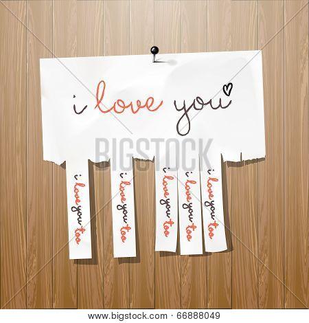 I love you handwritten on advertisement leaflet
