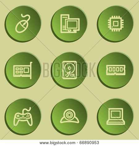 Computer web icons, green paper stickers set