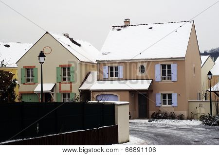 Residential Area In Winter