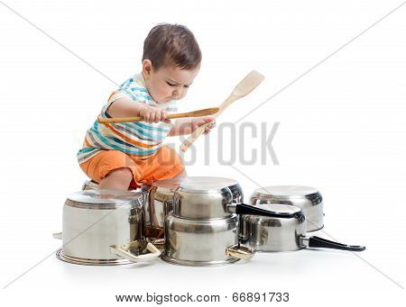Kid Boy Drumming Playing With Pots