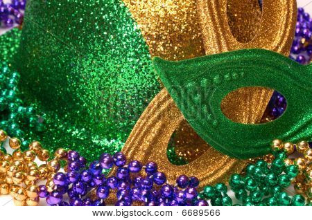 Mardi Gras Masks, Hat , And Beads