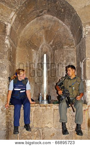 Members Of The Israeli Army Police In The Old City Of Jerusalem,