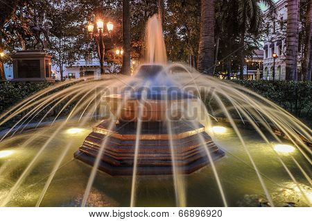 Historical Fountain In The Park Cartagena De Indias, Colombia. South America.