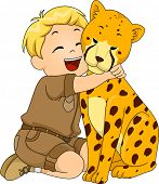 Illustration of a Boy in a Safari Outfit Hugging a Cheetah Stuffed Toy poster