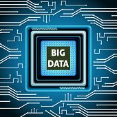 Big data microchip computer electronics cpu background vector illustration poster