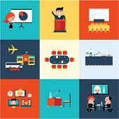 Conference icons vector illustration set flat cute design poster