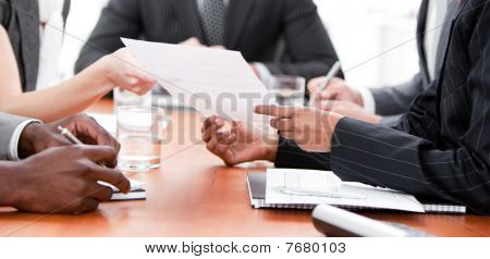 Close-up Of Multi-ethnic Business People In A Meeting