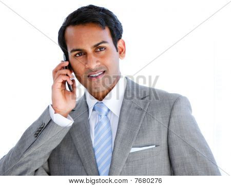 Happy Businessman Taking A Phone Call