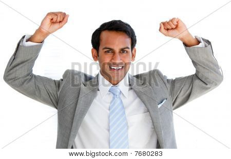 Happy Businessman Punching The Air