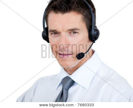 Self-assured Sales Representative Man With An Headset