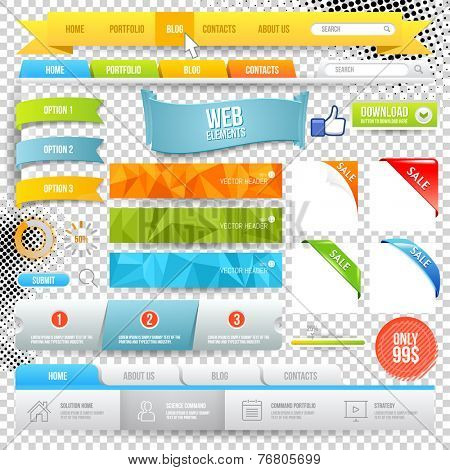 Vector Web Elements. Buttons, geometric banner backgrounds, options flags