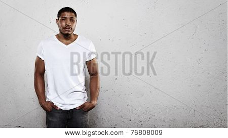 Portrait Of A Young Man Wearing White T-shirt