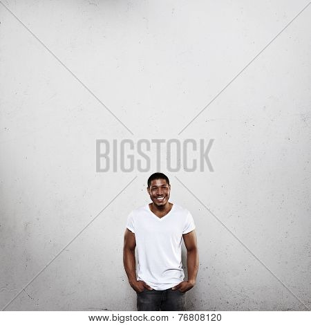 Young Man In White T-shirt Smiling