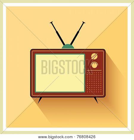 Retro crt tv receiver on vintage background vector