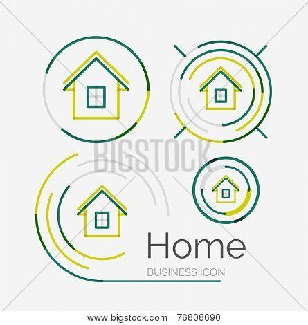 Thin line neat design logo set, clean modern concept, home, house idea