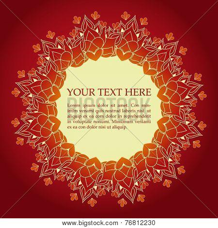 Red Henna Lotus Mandala Banner