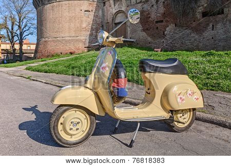 Vintage Scooter Vespa With Painted Flowers
