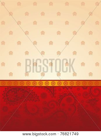 Red and cream Indian saree background