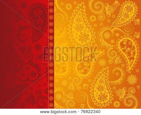 Red and yellow Indian paisley saree design
