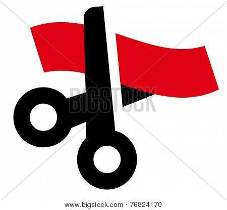 Vector icon of black scissors cutting red ribbon