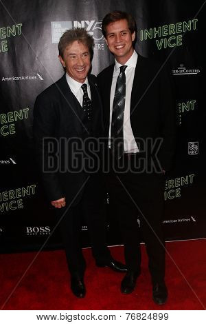 NEW YORK-OCT 4: Actor/comedian Martin Short (L) and son Henry Hayter Short attend the 'Inherent Vice' premiere at the New York Film Festival at Alice Tully Hall on October 4, 2014 in New York City.