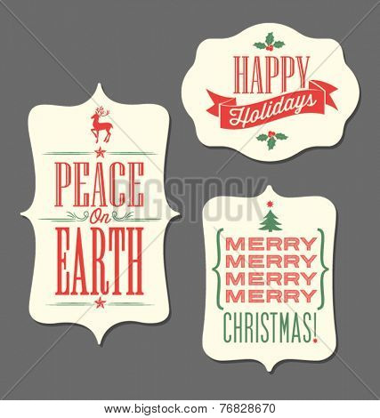 Christmas Holiday tags vintage type design elements