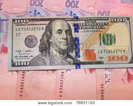 Hundred Of Dollars And Grivnas Bank Notes