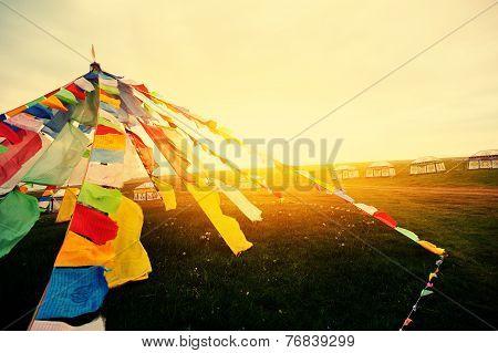 Buddhist tibetan prayer flags in tibet china poster