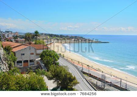 A panoramic view of Tarragona coast in Spain poster
