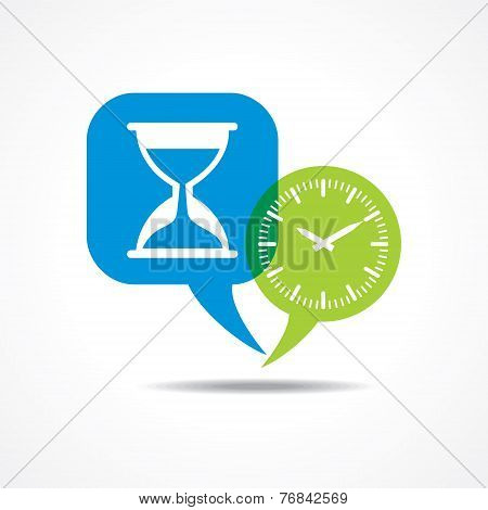 Sand watch  and clock in message bubble stock vector