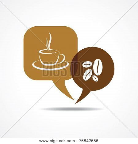 Coffee cup and beans in message bubble stock vector