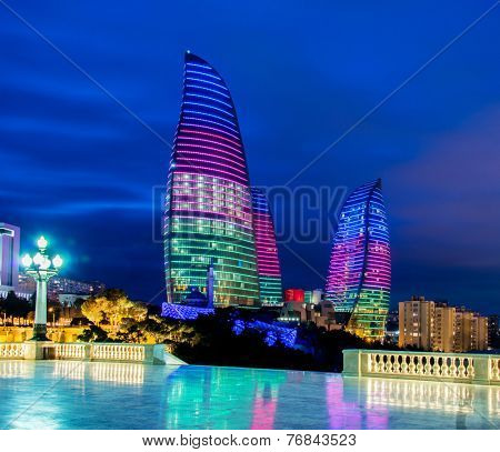 Baku - MARCH 9, 2014: Flame Towers on March 9 in Azerbaijan, Baku. Flame Towers are new skyscrapers in Baku, Azerbaijan