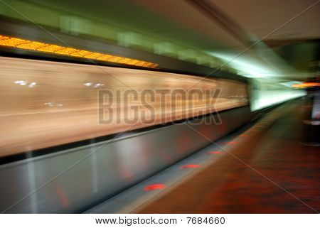 Blurred metro in motion
