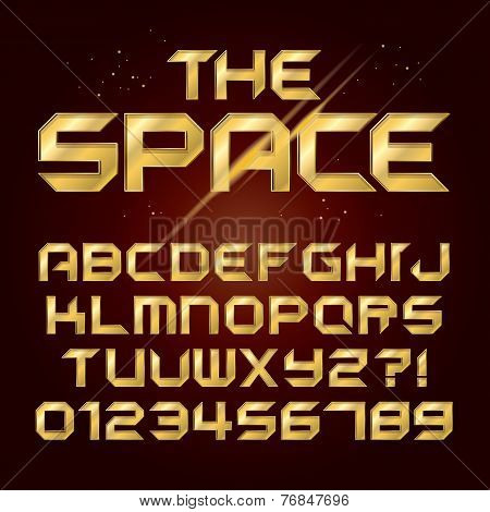 Futuristic Golden Shine Alphabet And Numbers, Editable Eps10 Vector