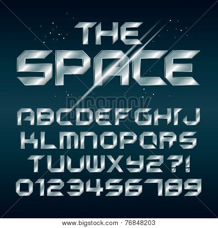 Futuristic Silver Chrome Alphabet And Numbers, Editable Eps10 Vector