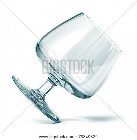 Empty cognac glass isolated on white
