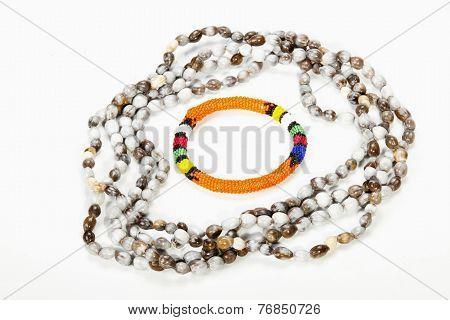 Beaded Zulu Necklace With Bright Orange Armband