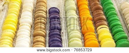 Multicolor French Macarons In A Rows