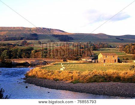 River Ewer and farmland, Yorkshire Dales.