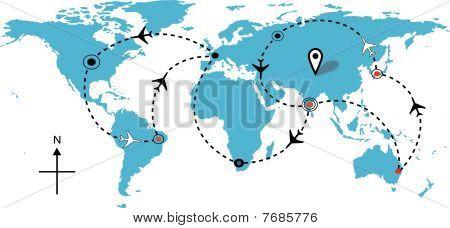 Airline Plane Flight Travel Plans Connections Map