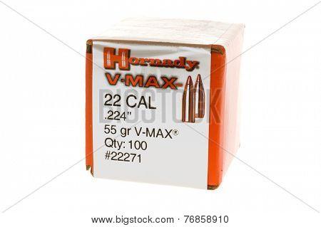 Hayward, CA - November 23, 2014: Box of Hornady 22 Caliber V-Max  bullets