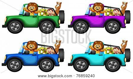 Animals taking ride in a jeep