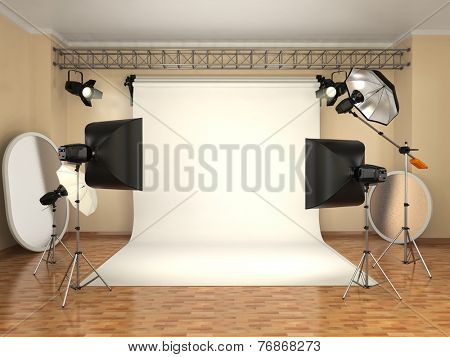 Photo studio with lighting equipment. Flashes, softboxes and reflectors. 3d