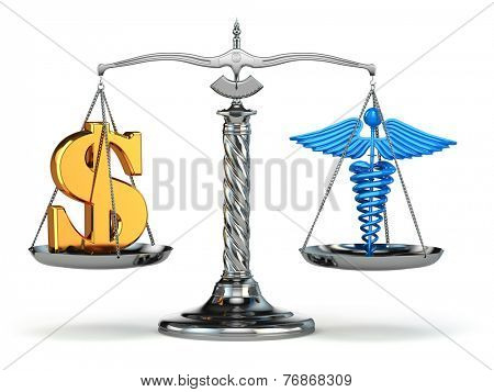 Choice health or money. Caduceus and dollar signs on scales. 3d