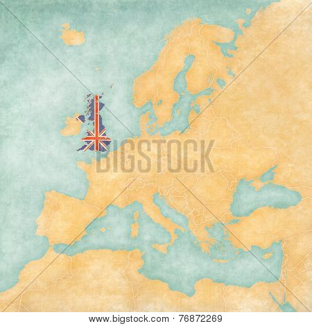 United Kingdom (British flag) on the map of Europe. The Map is in vintage summer style and sunny mood. The map has a soft grunge and vintage atmosphere which acts as watercolor painting on old paper.