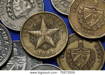 Coins of Cuba. Coat of arms of Cuba depicted in the Cuban peso coins. poster