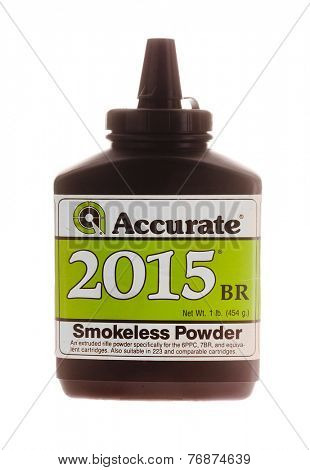 Hayward, CA - November 23, 2014: Plastic container of Accurate 2015 BR gunpowder