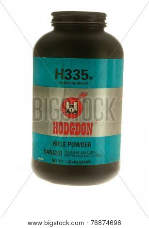Hayward, CA - November 23, 2014: Plastic container of Hodgdon H335 gunpowder